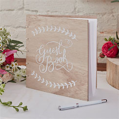 Boho Wedding Wooden Guest Book
