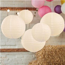Boho Wedding Ivory Paper Lanterns - 30cm & 20.5cm