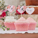 Boho Floral Heart Wedding Cupcake Picks