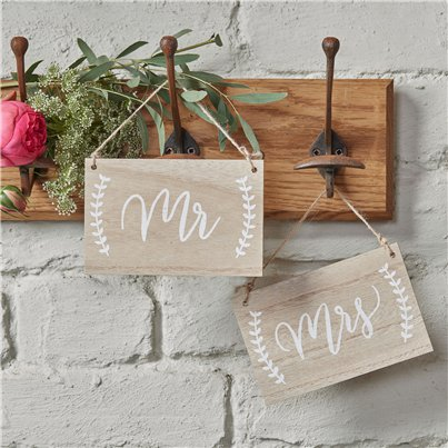 Boho Wedding Mr & Mrs Chair Signs - 14 x 9cm