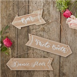 Boho Wedding Wooden Arrow Signs - 'Bar', 'Photo Booth' & 'Dance Floor'