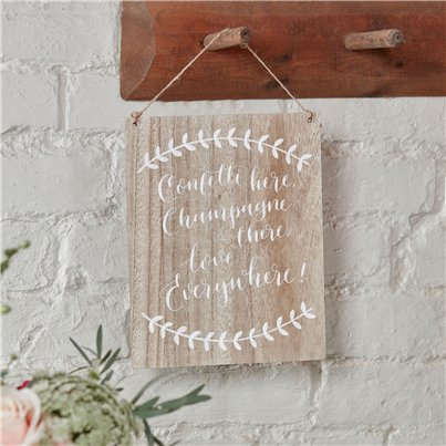 Boho Wedding 'Confetti Here, Champagne There, Love Everywhere' Wooden Sign - 25.5 x 20cm