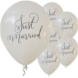 Boho Wedding Just Married Balloons - 12'' Latex