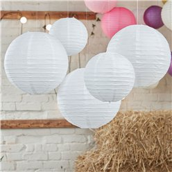 Boho Wedding White Paper Lanterns - 30cm & 20.5cm