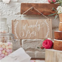 Boho Wedding Candy Bar Wooden Sign - 25 x 12cm