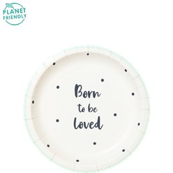 Born To Be Loved Paper Party Plates - 19cm