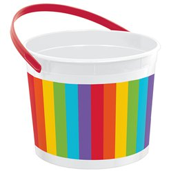 Rainbow Plastic Favour Bucket - 15cm