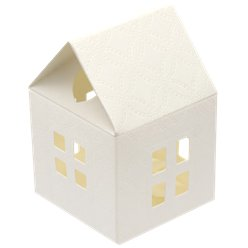 Warm White House Favour Box - 8cm