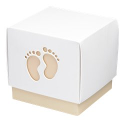 Natural Baby Footprint Box - 6cm square