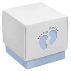 Blue Baby Footprint Box - 6cm square