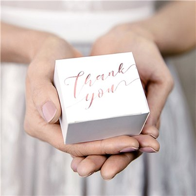 Rose Gold Thank You Favour Boxes
