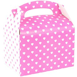 Pink & White Hearts Party Box - 15cm long