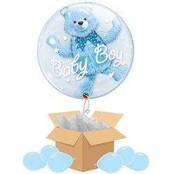 Baby Boy Double Bubble Balloon - Delivered Inflated
