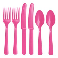 Hot Pink Plastic Cutlery - Assorted Party Pack
