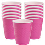 Hot Pink Cups - 473ml Plastic