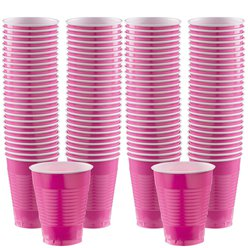 Hot Pink Cups - 473ml Plastic Party Cups