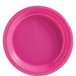 Hot Pink Plates - 23cm Plastic Party Plates