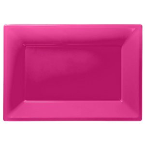 Hot Pink Serving Platters - 23cm x 32cm Plastic