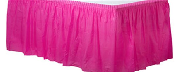 Hot Pink Plastic Tableskirt - 73cm x 4.2m