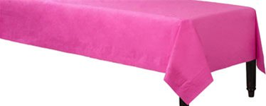 Hot Pink Plastic Lined Paper Tablecover - 1.4m x 2.8m