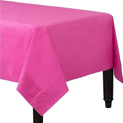 Hot Pink Plastic Lined Paper Table Cover - 1.4m x 2.8m 3ply