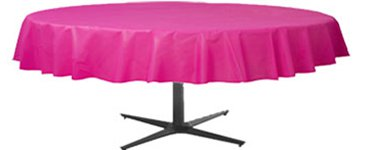 Hot Pink Round Tablecover   Plastic - 2.1m