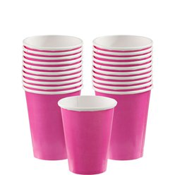 Hot Pink Cups - 266ml Paper Party Cups