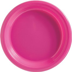 Hot Pink Plates - 26cm Plastic Party Plates