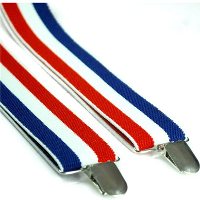 Red, White & Blue Striped Braces - Royal Wedding Street Party  front