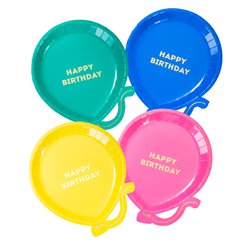 Birthday Brights Balloon Shaped Plates - 18cm