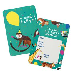 Party Animals Invitations - A6 Size including Envelopes