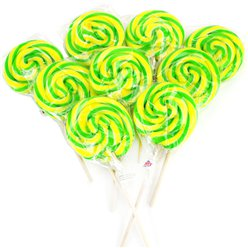 Green & Yellow Swirl Lollipops - Apple 10cm