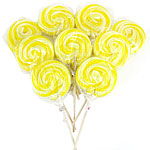 Yellow Swirl Lollipops Lemon Flavour 10cm - Bulk Sweets