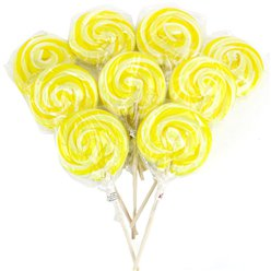 Yellow Swirl Lemon Flavour Lollipops - 30pk