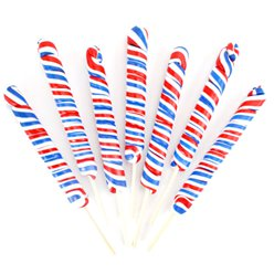 Red, White & Blue Twist Lollipops - Fruit Flavour
