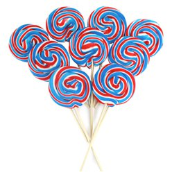 Red, White & Blue Swirl Lollipops - Mint Flavour 10cm