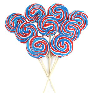 Red, White & Blue Large Swirl Lollies 10cm