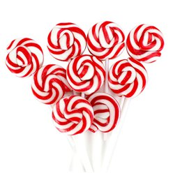 Red & White Mini Swirl Sour Strawberry Flavour Lollipops - 50pk