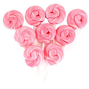 Pink & White Mini Swirl Candy Floss Flavour Lollipops - 50pk