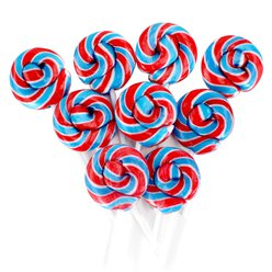 Red, White & Blue Mini Swirl Fruit Flavour Lollipops - 50pk