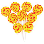 Yellow & Orange Mini Swirl Lollipops - Fizzy Cola 5cm