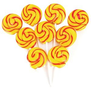 Yellow & Orange Mini Swirl Fizzy Cola Flavour Lollipops - 50pk