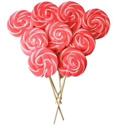Pink Swirl Candy Floss Flavour Lollipops - 30pk