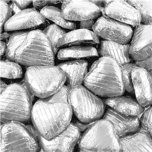 Silver Foil Chocolate Hearts - Bulk Pack