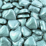 Light Blue Foil Chocolate Hearts - Bulk Pack