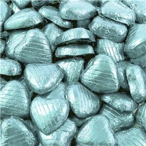 Light Blue Foil Chocolate Hearts - 100pk