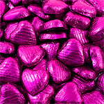 Cerise Foil Chocolate Hearts - Bulk Pack