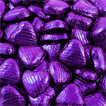 Purple Foil Chocolate Hearts - Bulk Pack