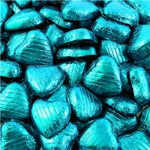 Turquoise Foil Chocolate Hearts - 100pk