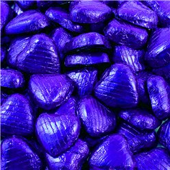 Indigo Foil Chocolate Hearts - 100pk